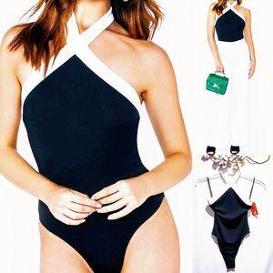 MediabyMedina Tops - 🆕Color Block Halter neck bodysuit size M 🐝💋